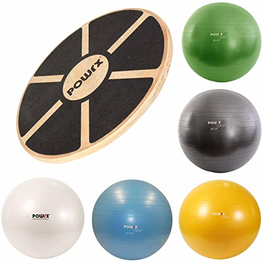 2 opinioni per Balance board in LEGNO + Palla fitness DELUXE antiscoppio (65 cm / Celeste)