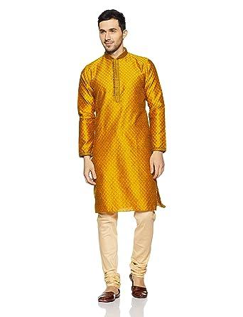 b23640cbbae Manyavar Men s Yellow Full Sleeve Regular Fit Designer Kurta ...
