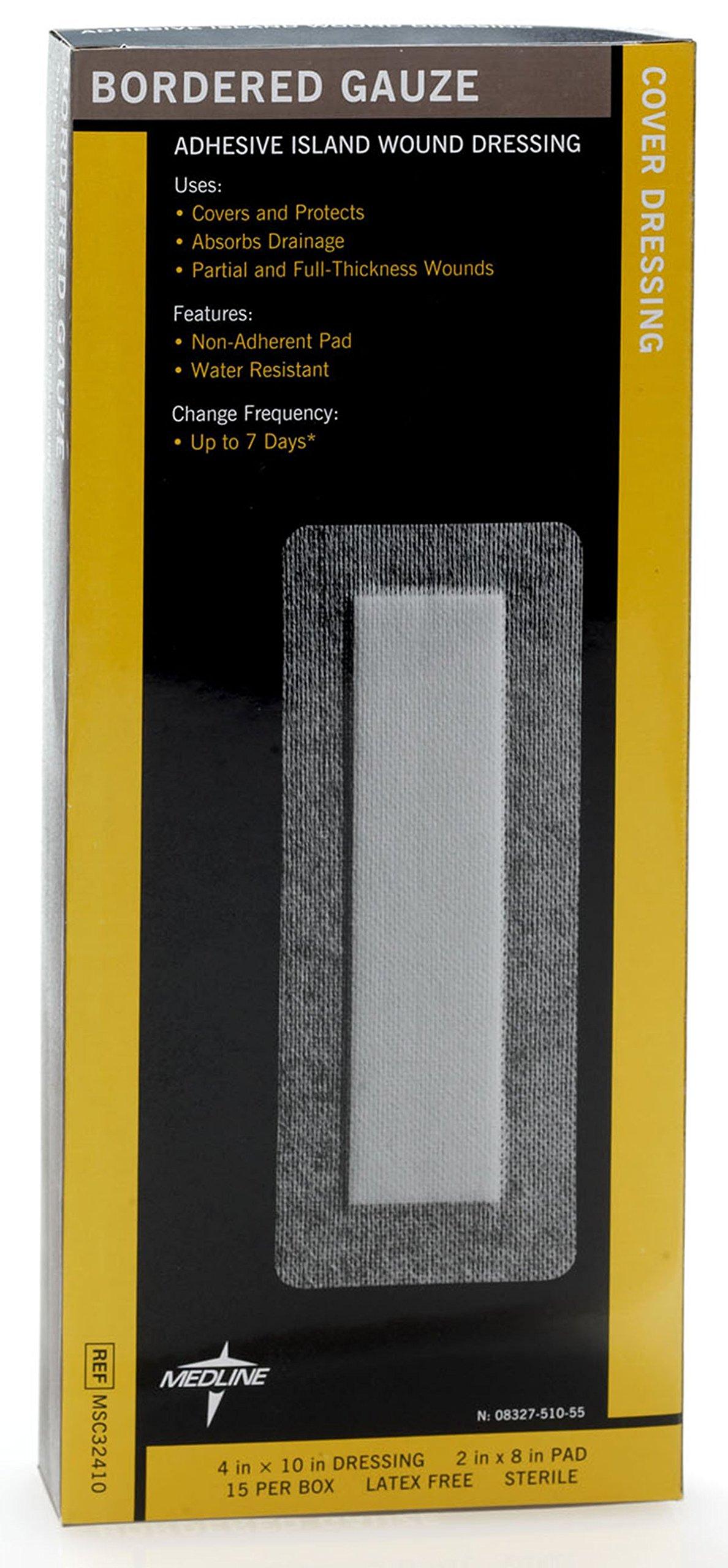 Medline MSC32410Z Sterile Bordered Gauze, 4'' x 10'' (Pack of 15) by Medline