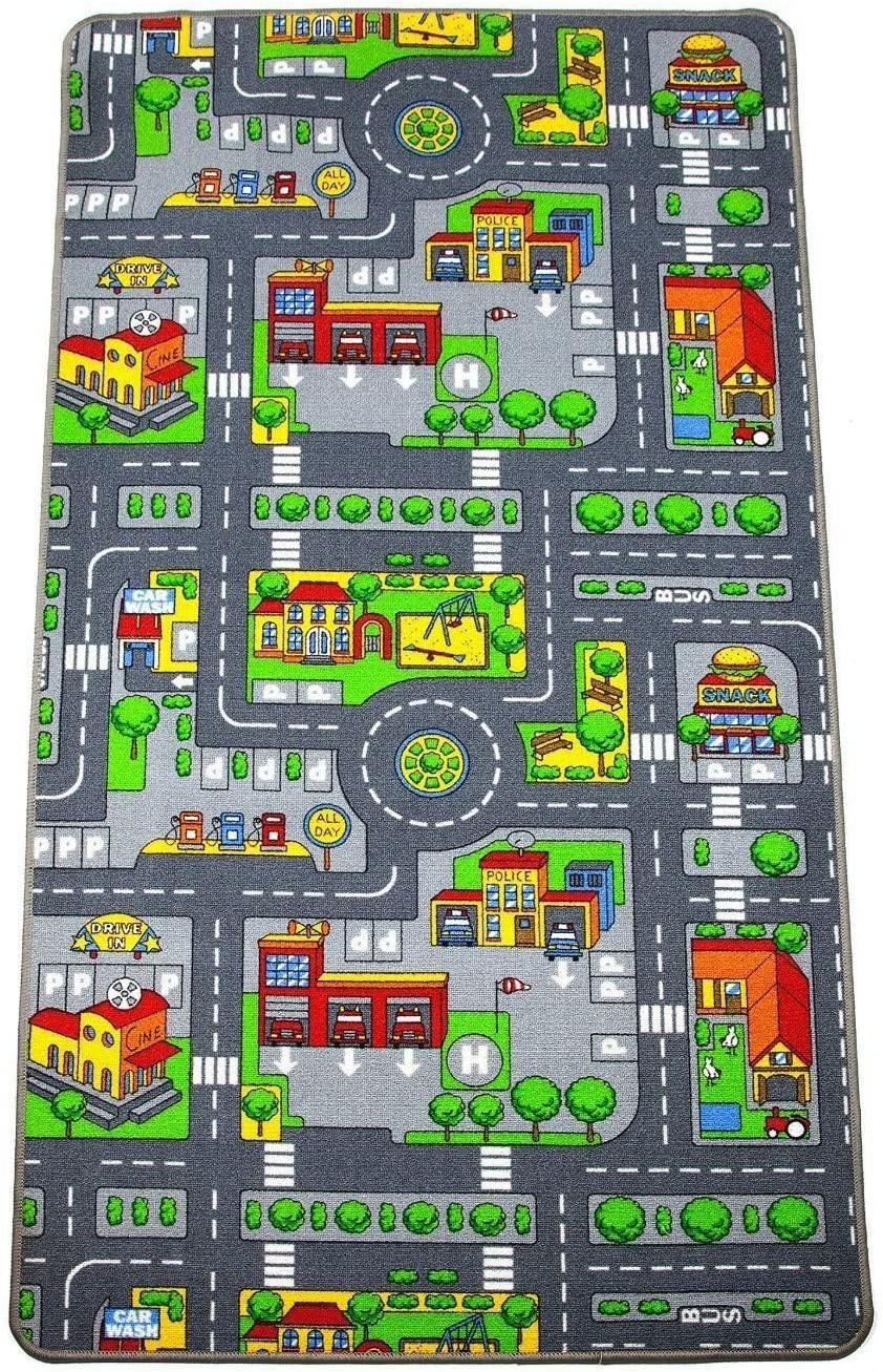 Kids Large 200 x 200cm City Play Play Mat Educational Childrens Fun Pre-School Town City Roads Rug Carpets Nursery Crawling Learning Playmat 200 x 200cm, City Mat