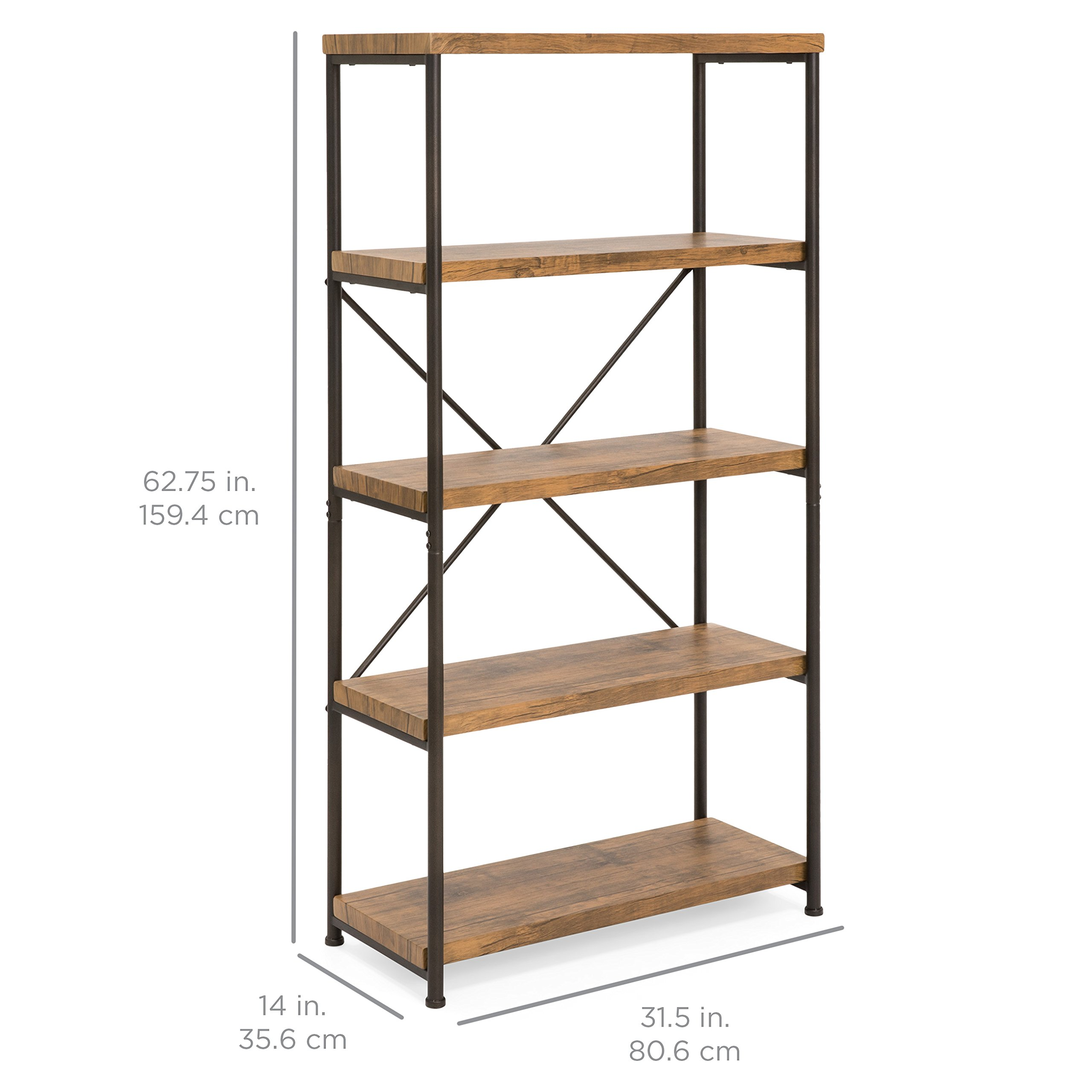 Best Choice Products 4-Tier Rustic Industrial Bookshelf Display Decor Accent w/Metal Frame, Wood Shelves - Brown by Best Choice Products (Image #7)