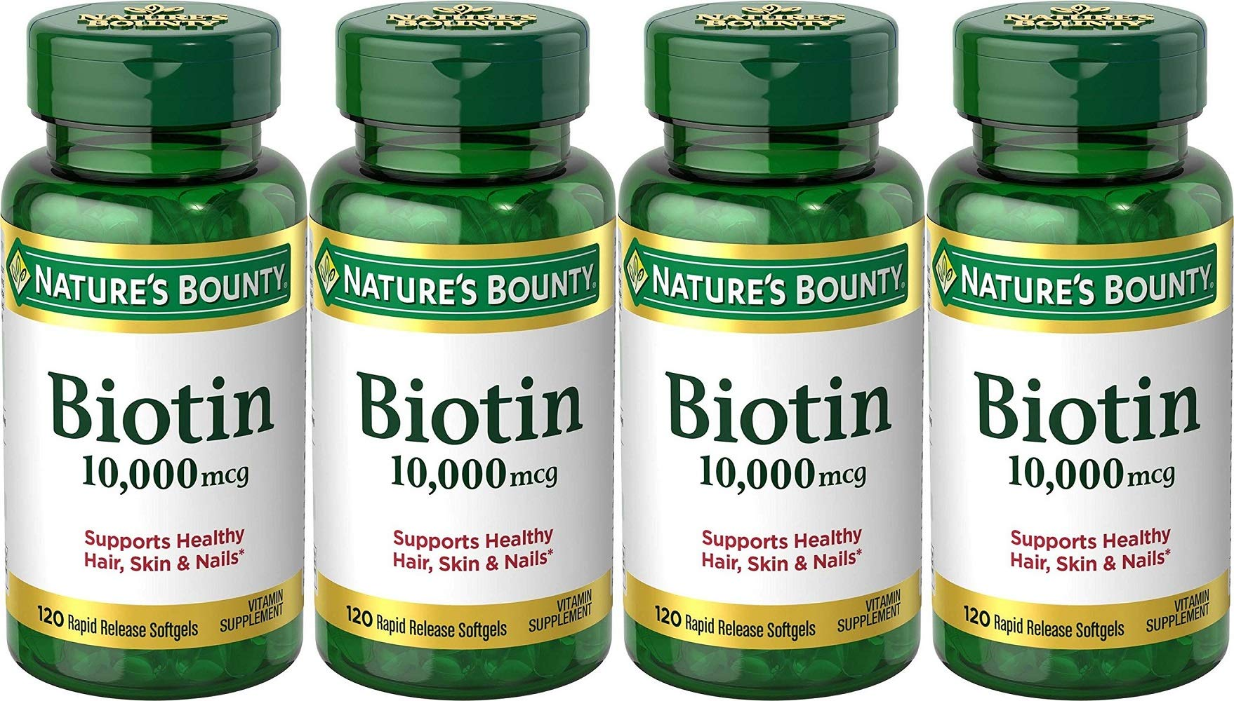 Nature's Bounty Biotin 10000 mcg Ultra Strength - 120 Softgels, Pack of 4 by Nature's Bounty