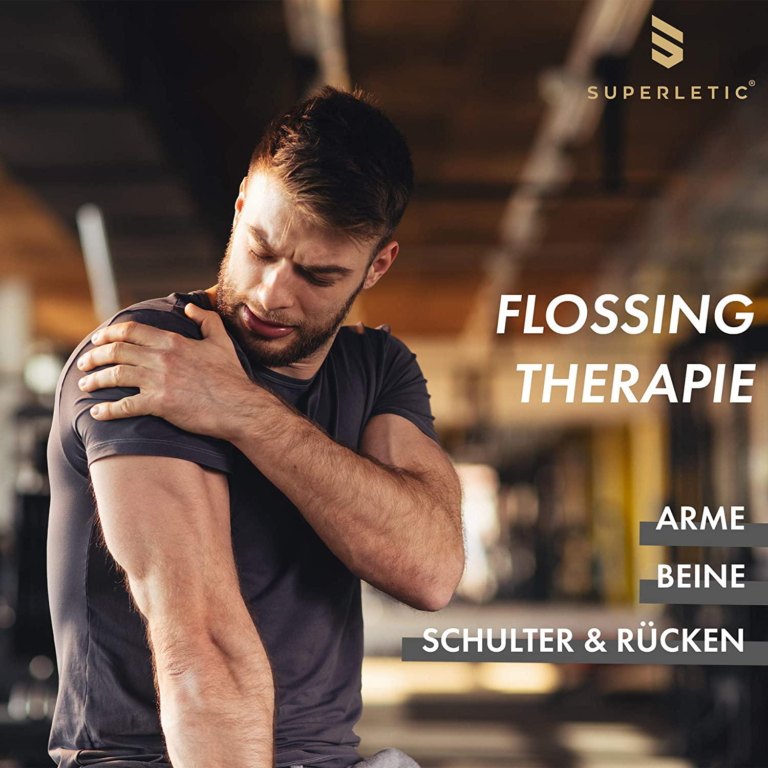 Training und Medical Flossing 100/% Latex SUPERLETIC Floss-Band Essential 2 m x 5 cm Flossing-Band f/ür Physiotherapie schwarz