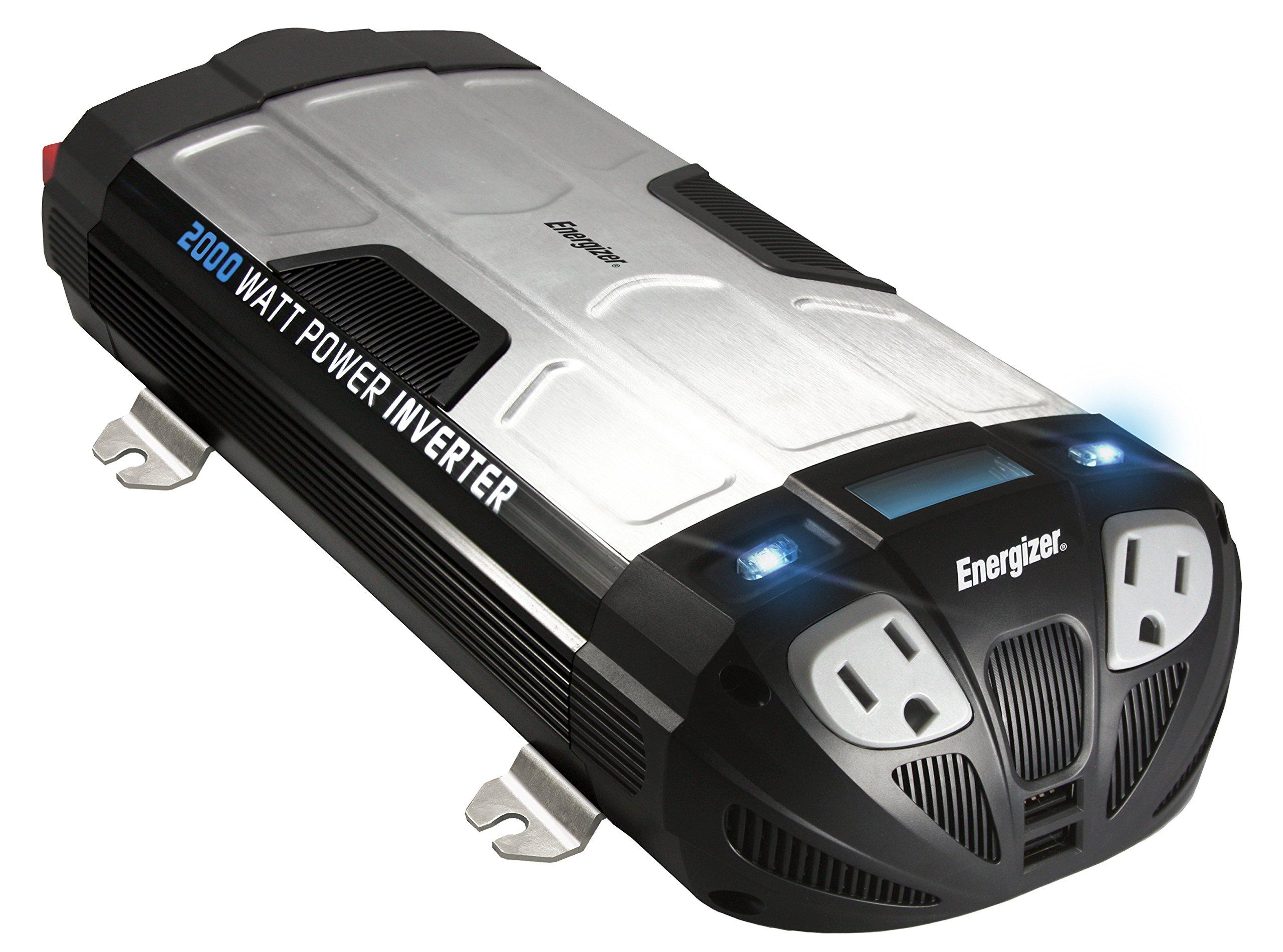 ENERGIZER 2000 Watt Power Inverter converts 12V DC from car's battery to 120 Volt AC