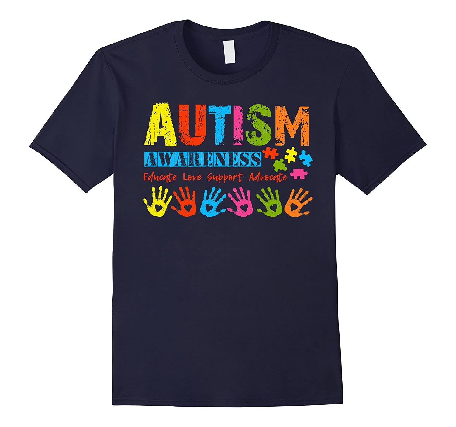 Autism Awareness Shirt 2017 Hearts  Hands Mom Dad Kids-CD