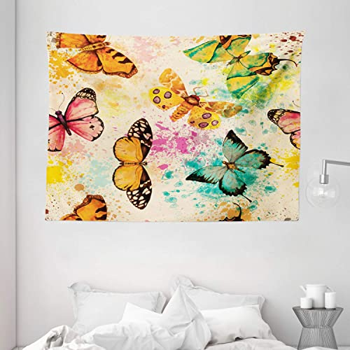 Ambesonne Boho Tapestry Butterflies Decor, Watercolors Murk Grungy with Color Splashes Be Mindful Bohemian Artsy Print, Bedroom Living Room Dorm Art Wall Hanging, 80 X 60 Inches, Multi