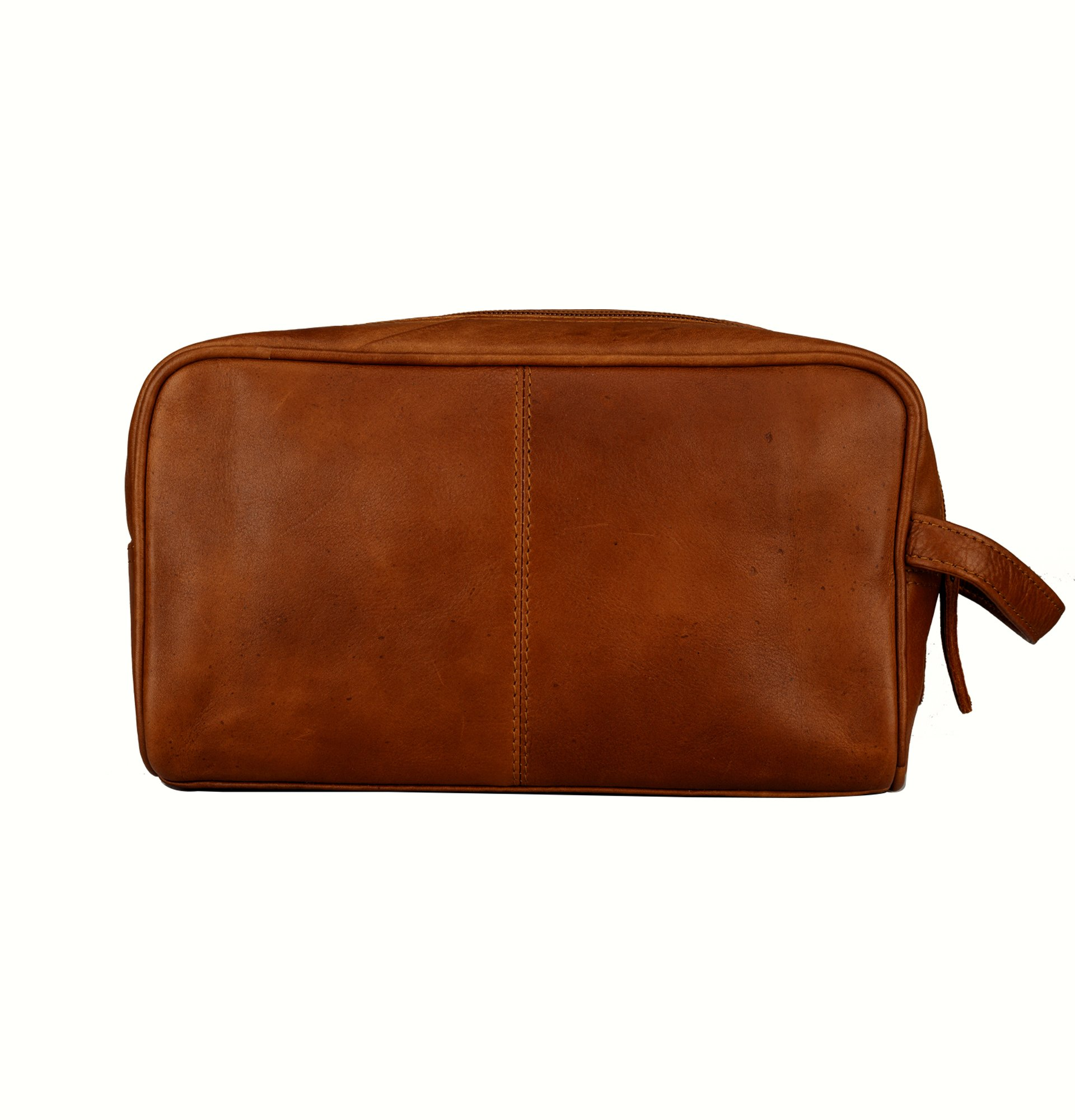 Finelaer Men Brown Leather Toiletry Travel Dopp Bag by FINELAER (Image #4)