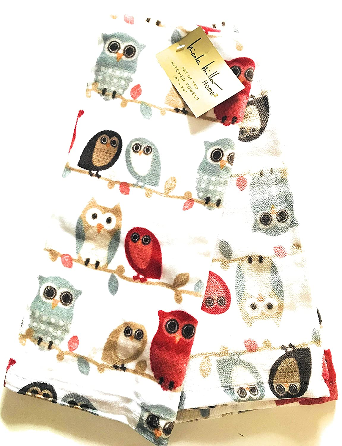 Big Eyed Owls Kitchen Towels, Set of Two 100% Cotton by Nicole Miller