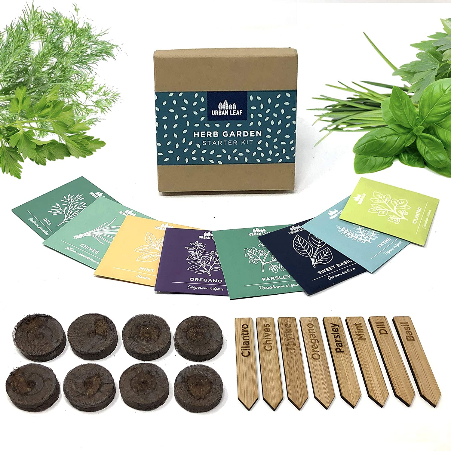 Indoor Herb Garden Starter Kit - Soil Starter Discs, Compact Herb Seed Varieties, Bamboo Labels and Detailed Instructions - DIY Kitchen Grow Kit for Growing Herb Seeds Indoors