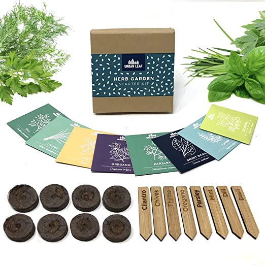 Urban Leaf Indoor Herb Garden Starter Kit Soil Starter Discs Compact Herb Seed Varieties Bamboo Labels And Detailed Instructions Diy Kitchen Grow Kit For Growing Herb Seeds Indoors Amazon In