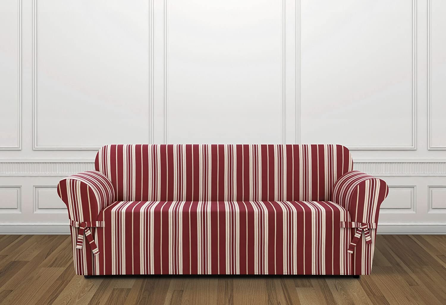 amazoncom sure fit sf37922 stripe sofa slipcover home u0026 kitchen