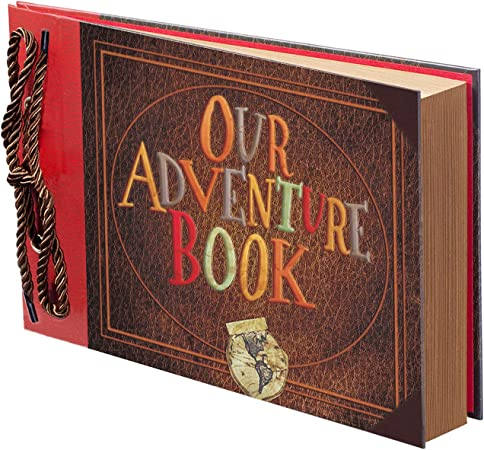 Travelling 100 Pages Partykindom Scrapbook Photo Album Our Adventure Book Wooden DIY Scrapbook Album with Hardcover Black Blank Kraft for Anniversary 8 x 8 Inch Birthday Wedding