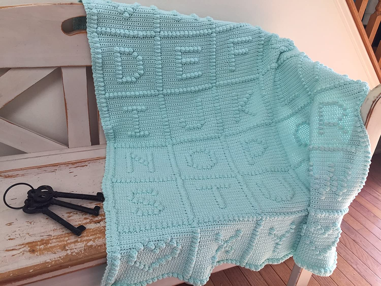 Image of A-Z With Love ~ Cotton Baby Blanket Hand-Crocheted Home and Kitchen
