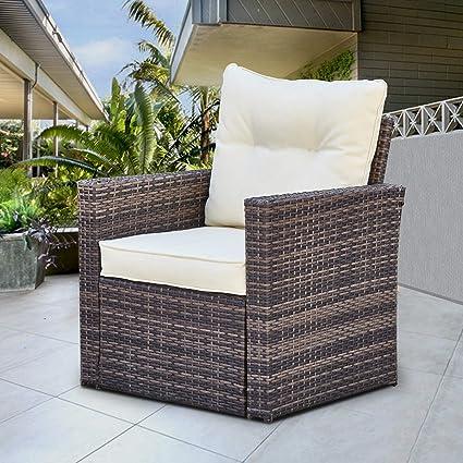 Amazon.com: Juego de muebles de patio de mimbre para uso al ...