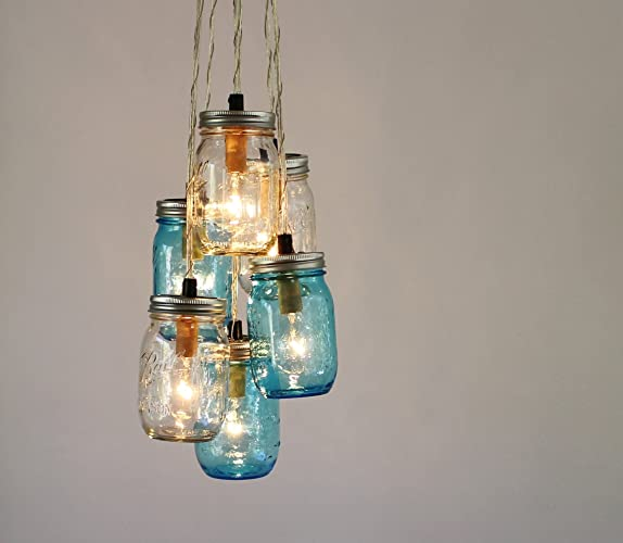 Amazon mason jar chandelier blue and clear jars cluster mason jar chandelier blue and clear jars cluster hanging pendant lamp fixture aloadofball Images