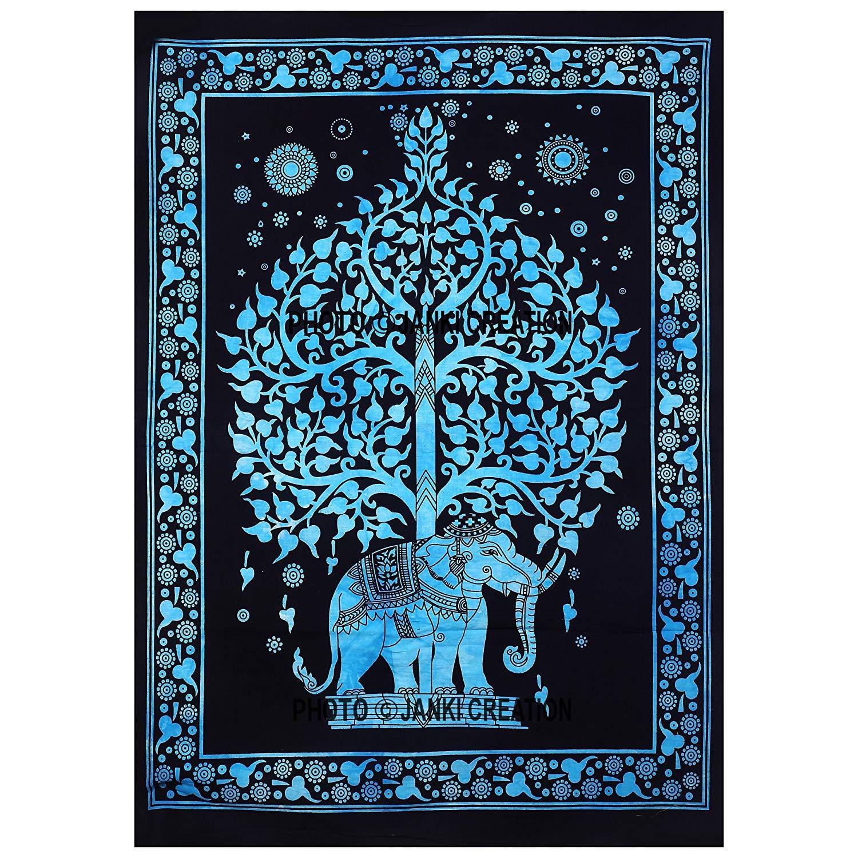 JHCs Indian Elephant Tree Of Life purple Small Wall Hanging Dorm Decor Wall Hanging Hippie tapestry poster Jaipuri Handloom Crafts /並/行/輸/入/品