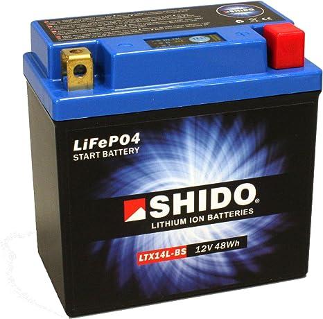 Motorrad Batterie Shido Lithium Ltx14l Bs Ytx14l Bs 12v 12ah Maße 150x87x145 Auto
