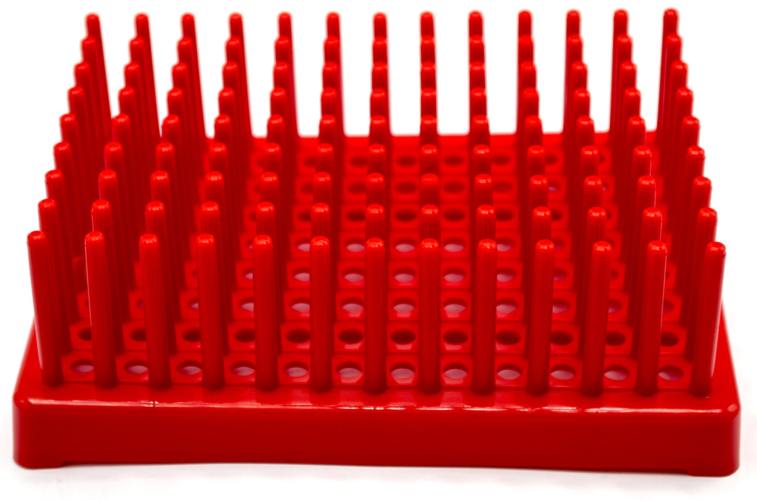 Red Plastic Test Tube Peg Drying Rack Holds 96 13mm Test Tubes - Eisco Labs by EISCO