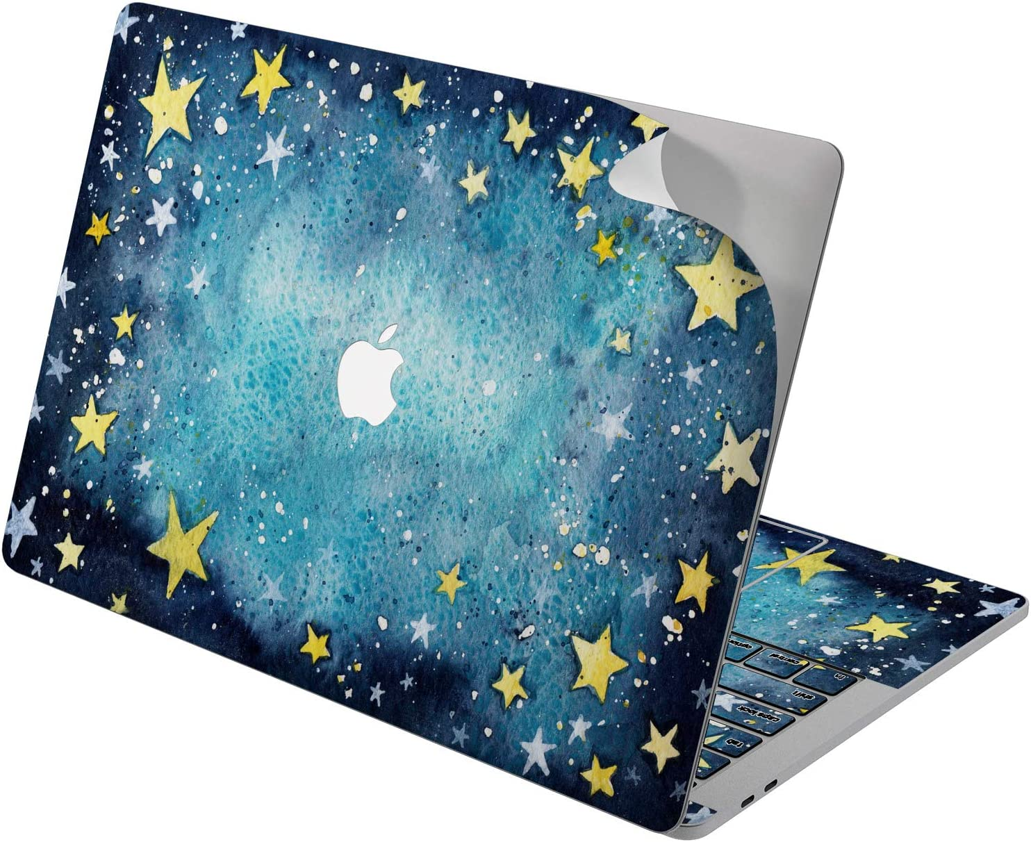 "Cavka Vinyl Decal Skin for Apple MacBook Pro 13"" 2019 15"" 2018 Air 13"" 2020 Retina 2015 Mac 11"" Mac 12"" Stars Cute Painted Celestial Laptop Sky Design Sticker Night Print Cover Watercolor Protective"