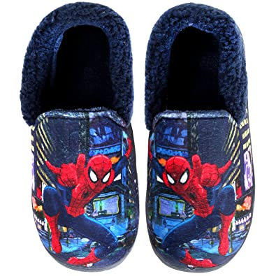 b579409aeb65 Joah Store Spider-Man Slippers for Boys Navy Red Warm Fur Clog Mule Indoor  Shoes