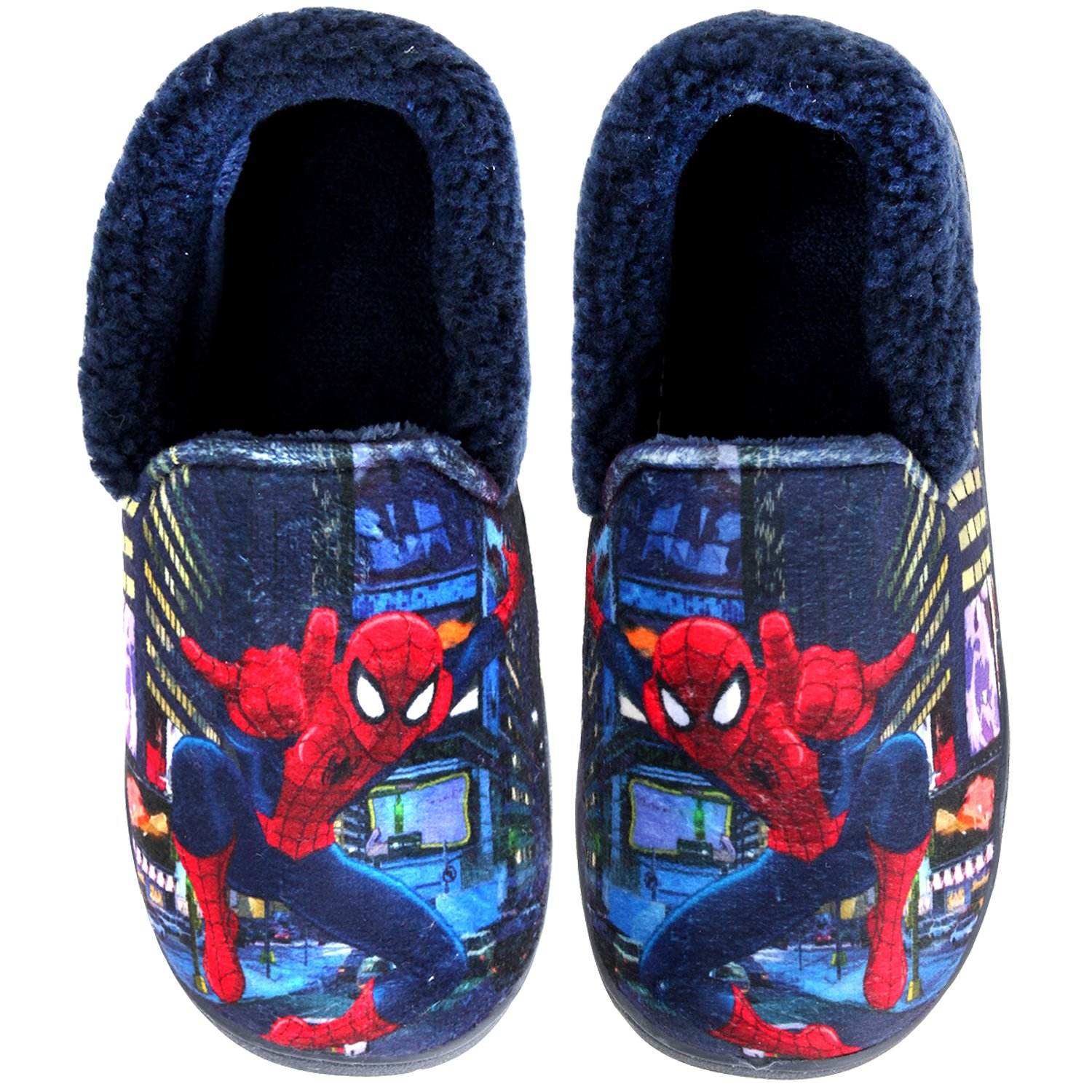 Joah Store Spider-Man Slippers for Boys Navy Red Warm Fur Clog Mule Indoor Shoes (3.5 M US Big Kid, Spider-Man)