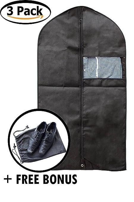 DZK bienes ropa bolsa para ropa - Juego de 3 negro cómodo ...