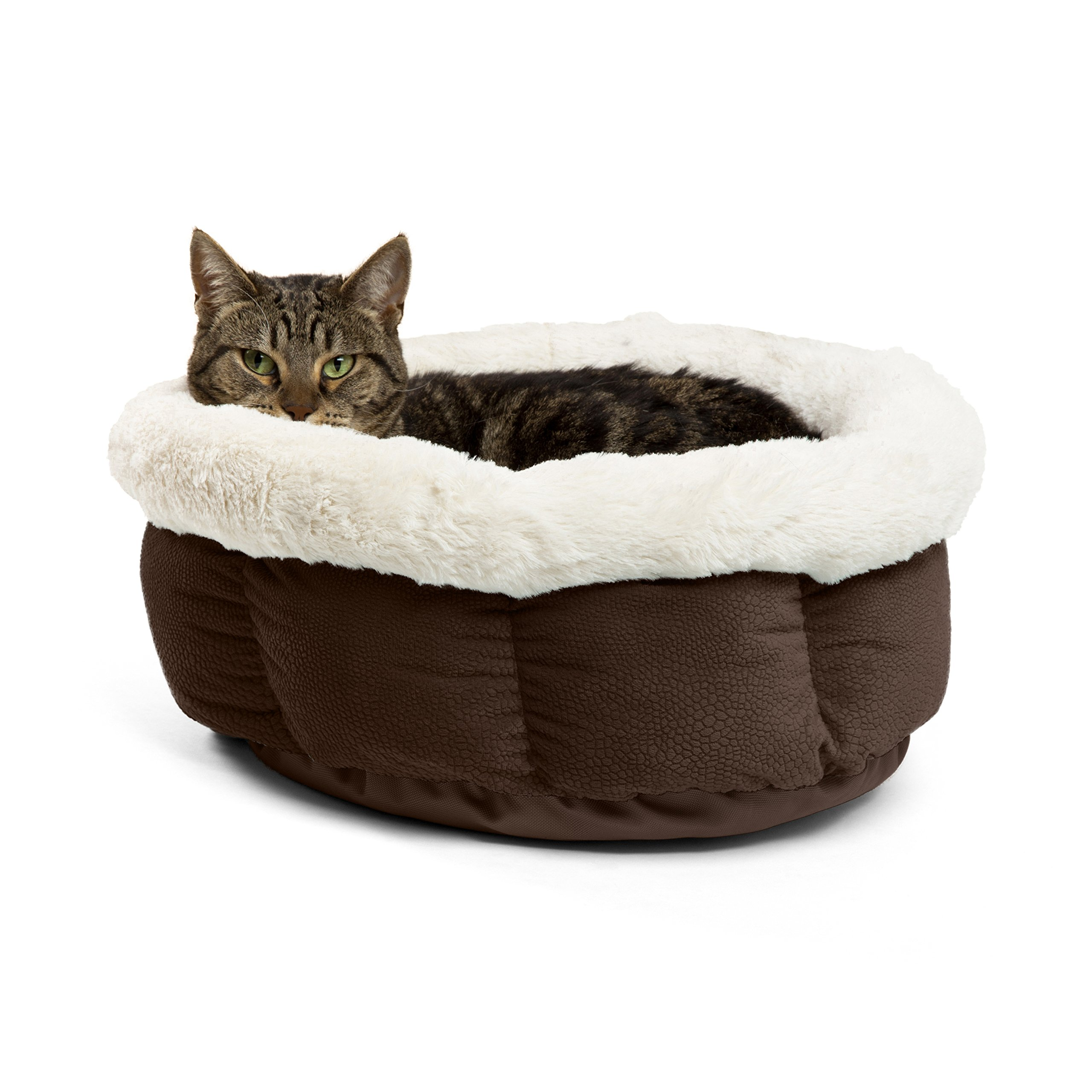 Best Friends by Sheri Small Cuddle Cup - Cozy, Comfortable Cat and Dog House Bed - High-Walls for Improved Sleep, Dark Chocolate by Best Friends by Sheri (Image #1)