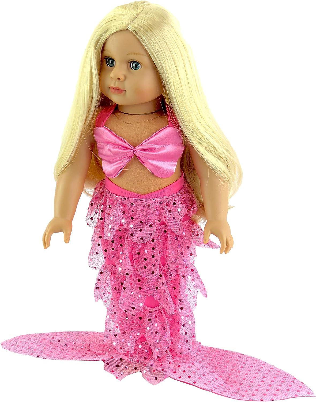 Amazon.com: American Fashion World Mermaid Halloween Costume Shell Bikini  Top and Sequin Mermaid Tail fits 18 Inch Doll: Toys & Games
