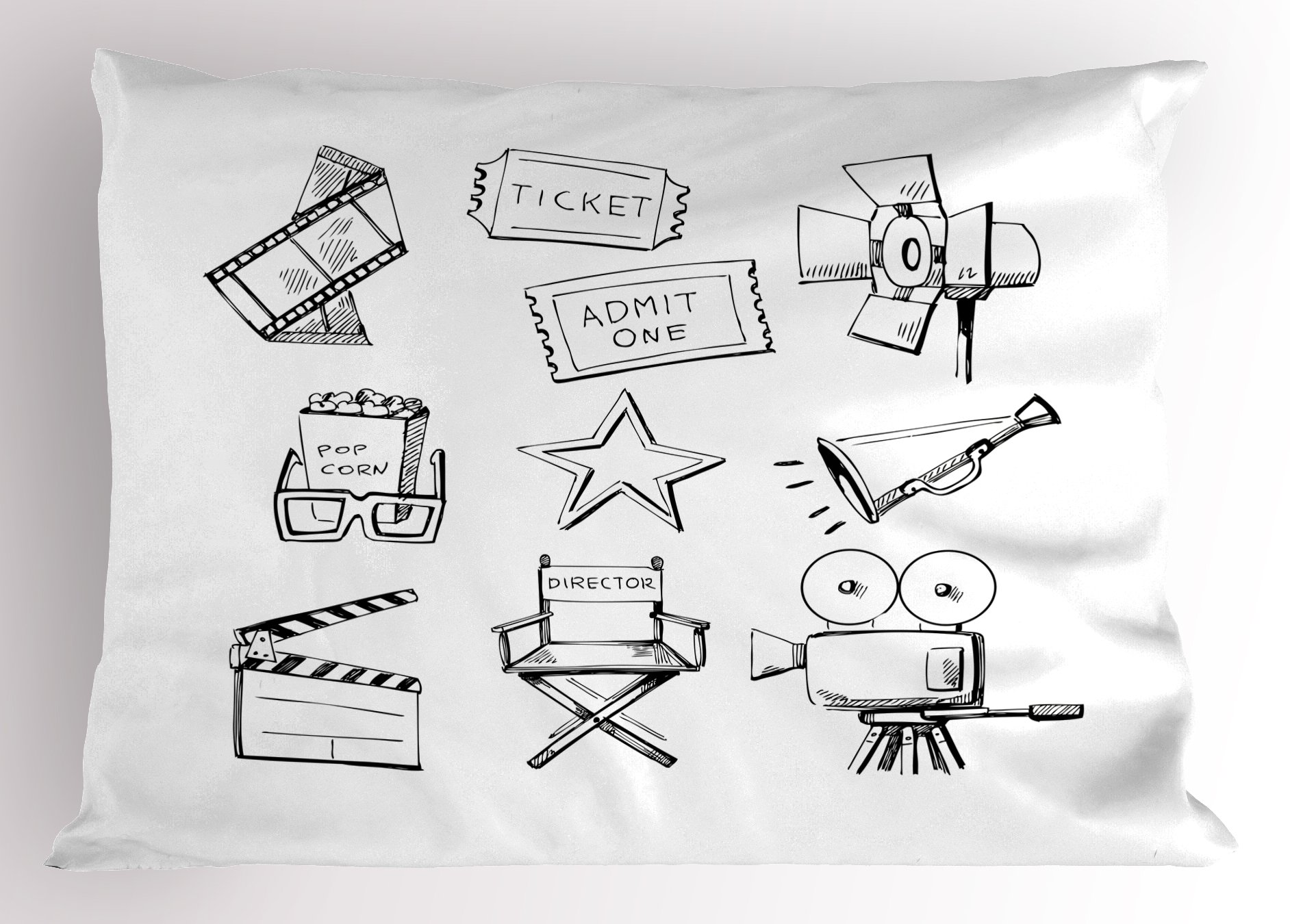 Ambesonne Movie Theater Pillow Sham, Sketchy Movie Icon Set in Black and White Entertainment Industry Media TV, Decorative Standard King Size Printed Pillowcase, 36 X 20 inches, Black White