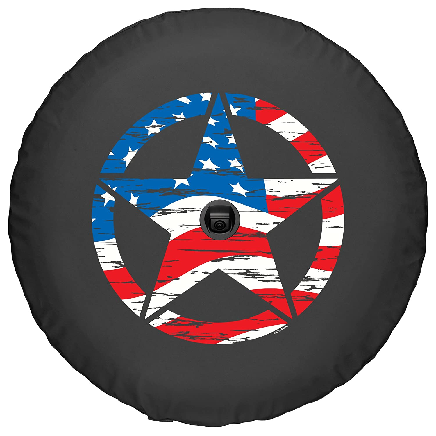 Made in The USA with Back-up Camera Boomerang - Sport /& Sahara 32 Soft JL Tire Cover for Jeep Wrangler JL American Flag 2018-2020 - Distressed Star
