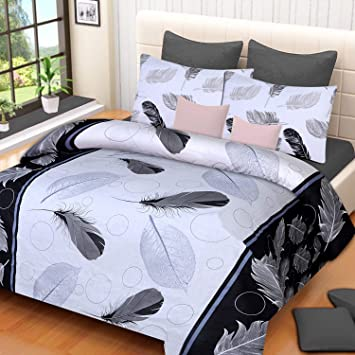 Choco Creation Polycotton 3D Printed White Patti Double Bedsheet with 2 Pillow Cover, Multicolour