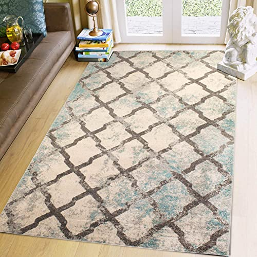 Super Area Rugs Distressed Updated Vintage Trellis Area Rug, Ivory, 8 X 10