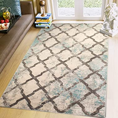 8X10 Modern Trellis Vintage Rug Distressed Rugs for Living Rooms and Open Spaces Rustic Ivory