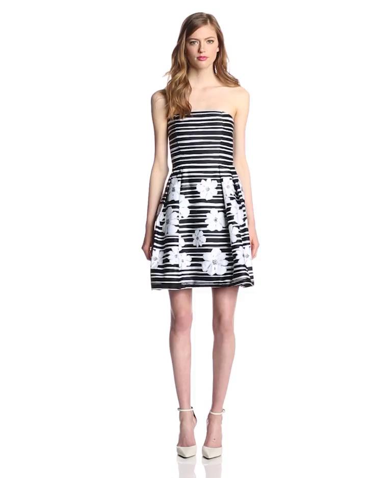 Taylor Dresses Women's Strapless Flower Printed Stripe Dress, Black/White, 6