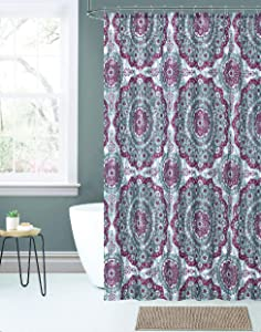 Kashi Home Cecilia 14pc Shower Curtain Chenille Rug Set with Roller Hooks