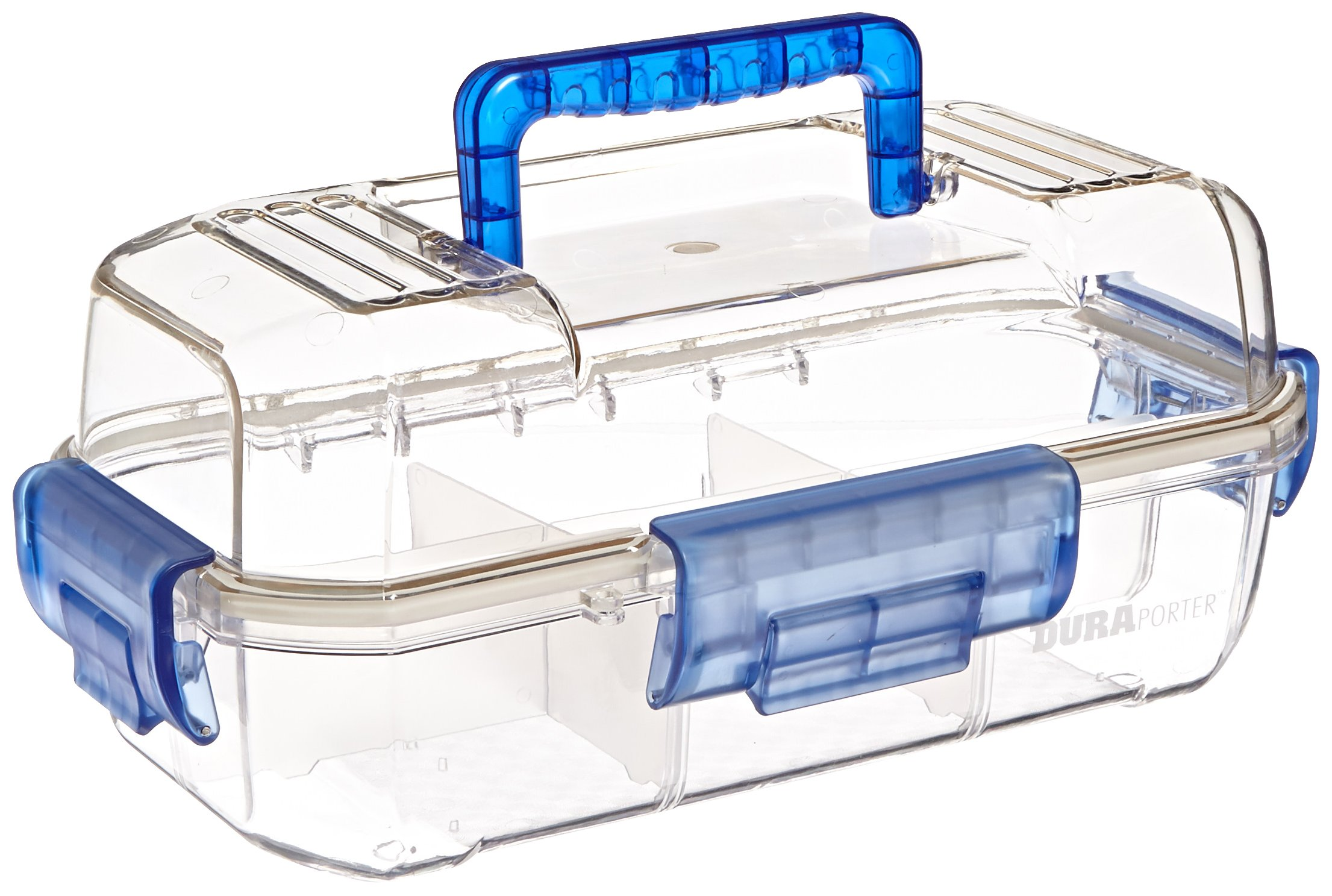 Heathrow Scientific HS120052 Duraporter Sealed Specimen Tote or Sample Transport Box, Polycarbonate, Water-Tight, Clear with Blue Handles