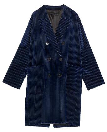 534a83d968 Zara Women s Double-Breasted Corduroy Coat 8181 617 Blue  Amazon.co ...