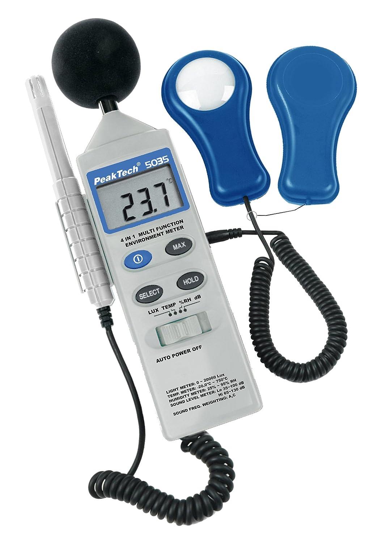 Peak Tech4/en 1/multifunci/ón medidor de medio ambiente con Lux de metros 1/pieza son/ómetro Medici/ón P 5035 Temperatura y Humedad