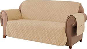 Ouka Reversible Sofa Slipcover, Fabric 1-Piece Furniture Protector with Elastic Straps,Non-Slip Sofa Cover for Pets and Kids. (Sofa, Khaki)
