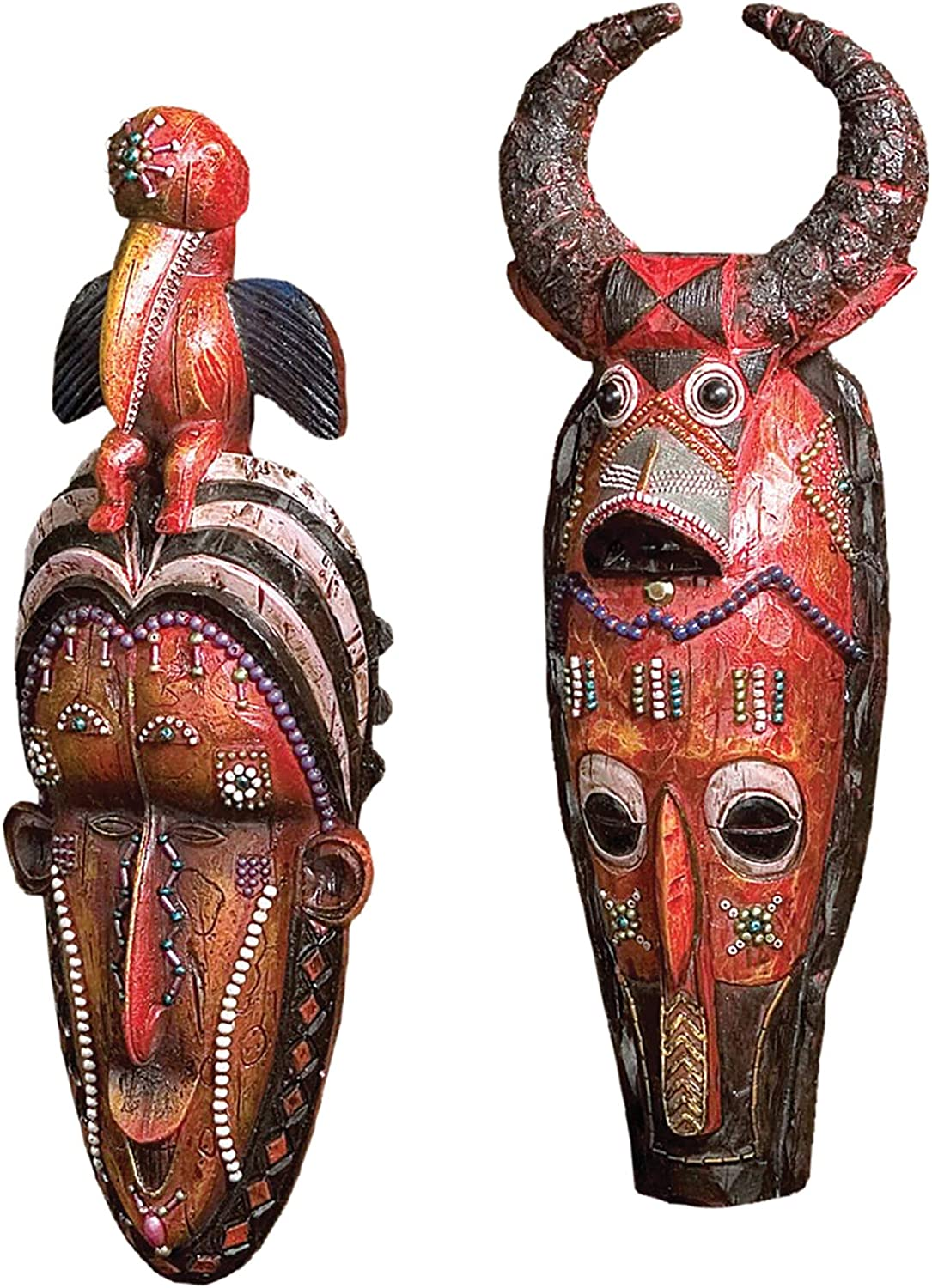 Design Toscano QL919717 Masks of The Congo Wall Sculptures,Woodtone