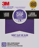 "3M 26180CP-P-G 180 Grit Pro Grade No-Slip Grip Advanced Sandpaper (20 Pack), 9 x 11"""