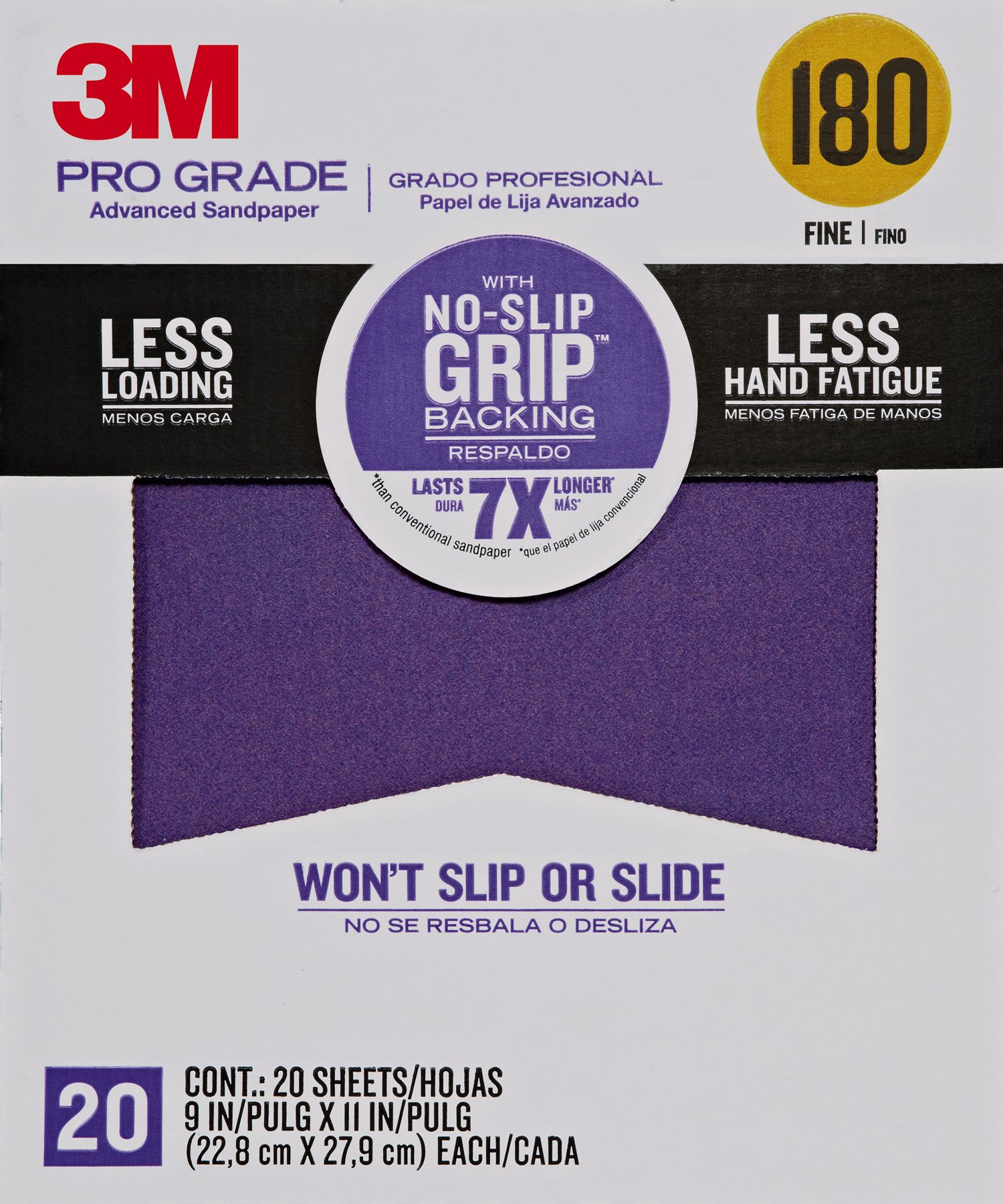 3M 26180CP-P-G 180 Grit Pro Grade No-Slip Grip Advanced Sandpaper (20 Pack), 9 x 11'' by 3M