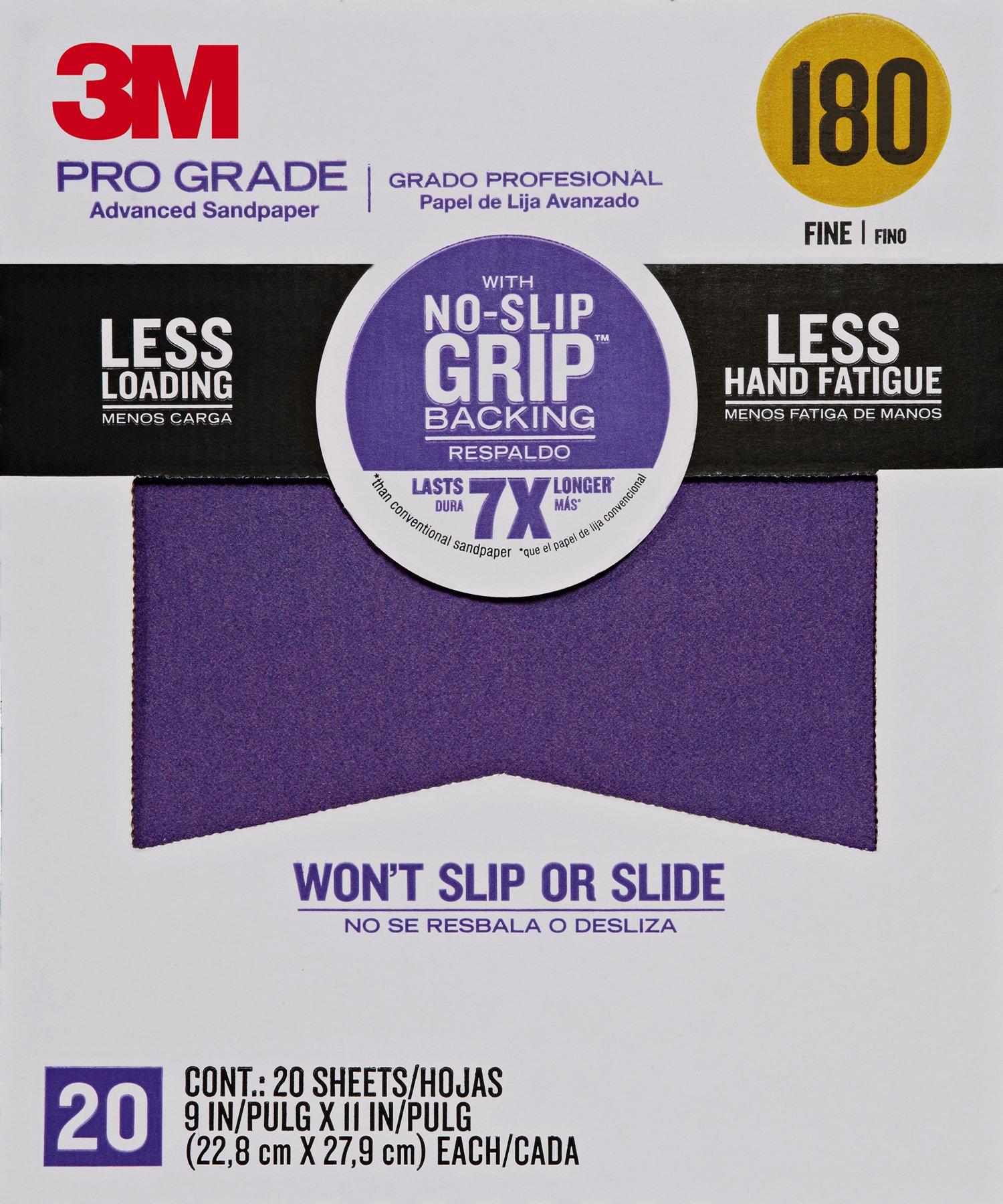 3M 26180CP-P-G 180 Grit Pro Grade No-Slip Grip Advanced Sandpaper (20 Pack), 9 x 11''