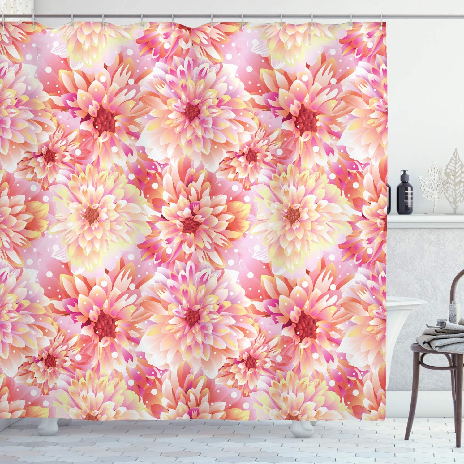Ambesonne Dahlia Flower Shower Curtain, Double Apple Blossom with Overlap Axis and Twist Bluntly Circle Pompons, Cloth Fabric Bathroom Decor Set with Hooks, 70