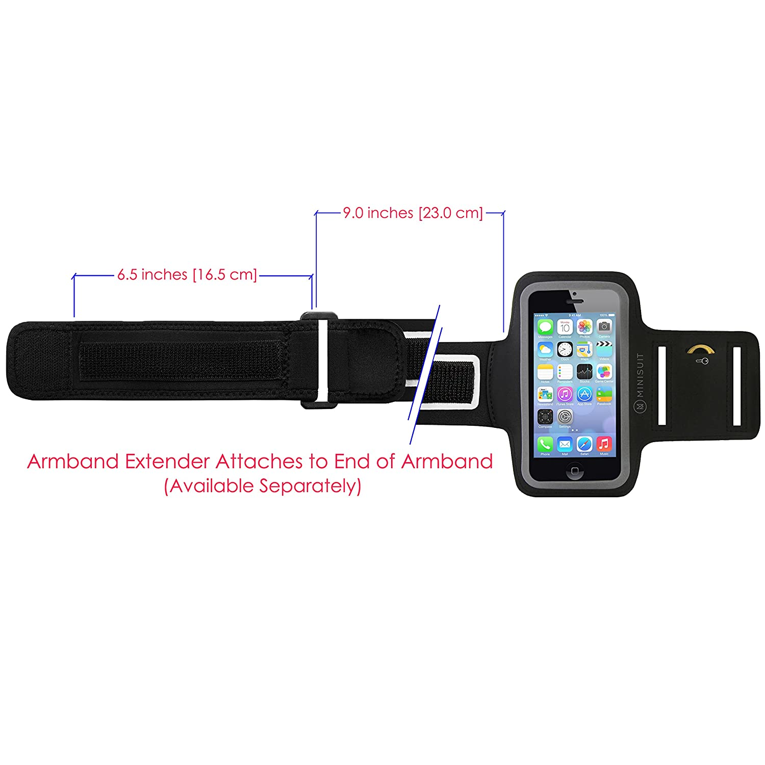 Amazon Minisuit Sporty Armband Key Holder for iPhone 7 6s 6 Black Cell Phones & Accessories