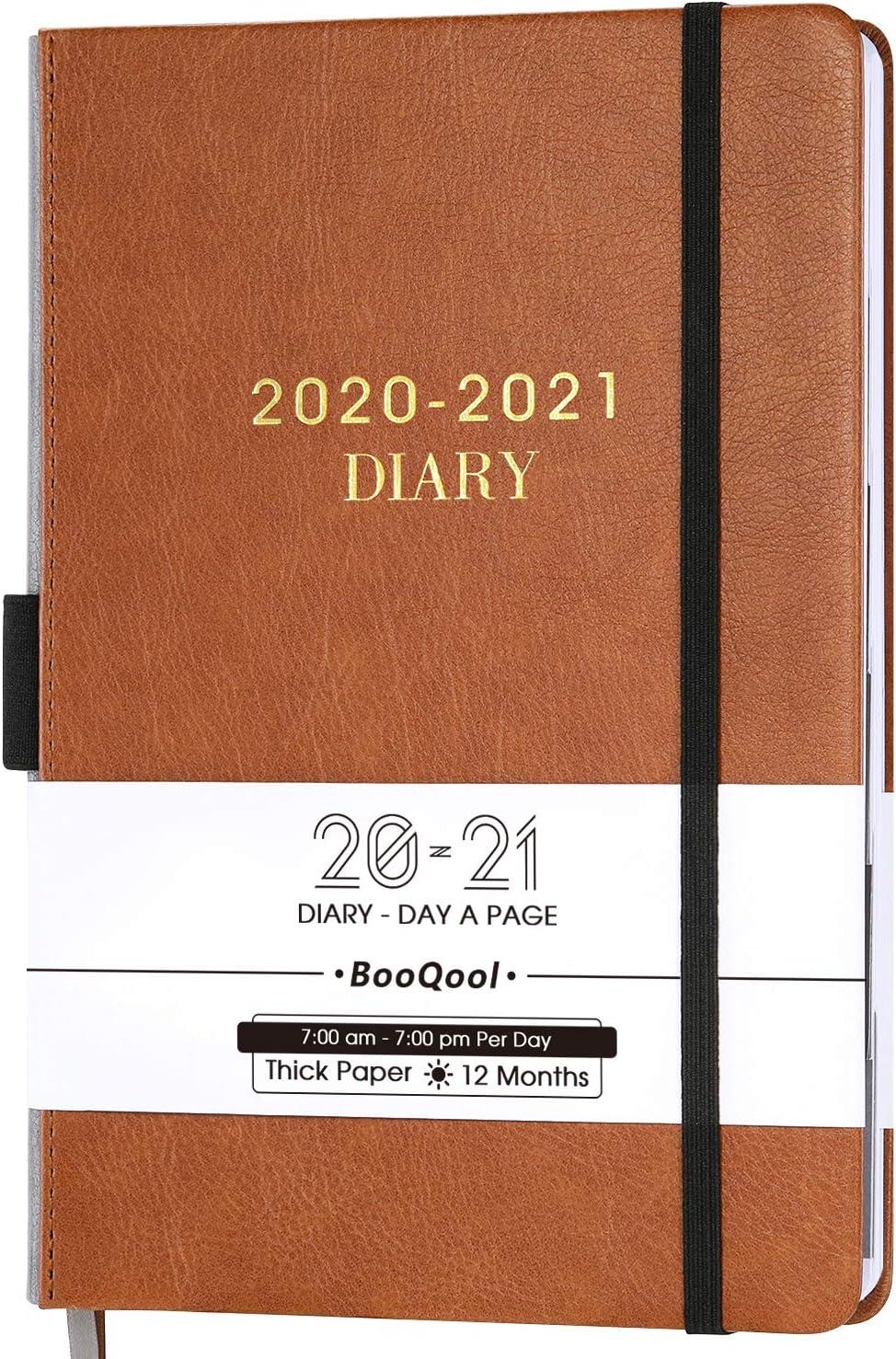 Agenda 2020-2021 - Planificador Diario de Productividad de Enero desde Julio de 2020 Hasta Junio de 2021, con Pestañas Mensuales, Bolsillo Interior, con Banda, 14,3 x 21 cm