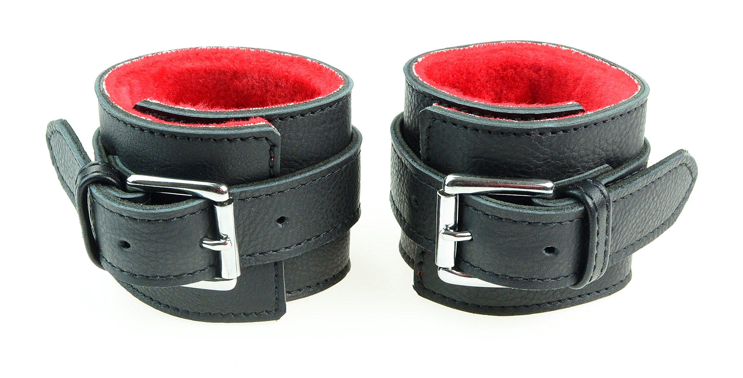 Plesur Top grain Genuine Leather Wrist Cuffs Leather Bracelets Handcuffs with faux fur lining