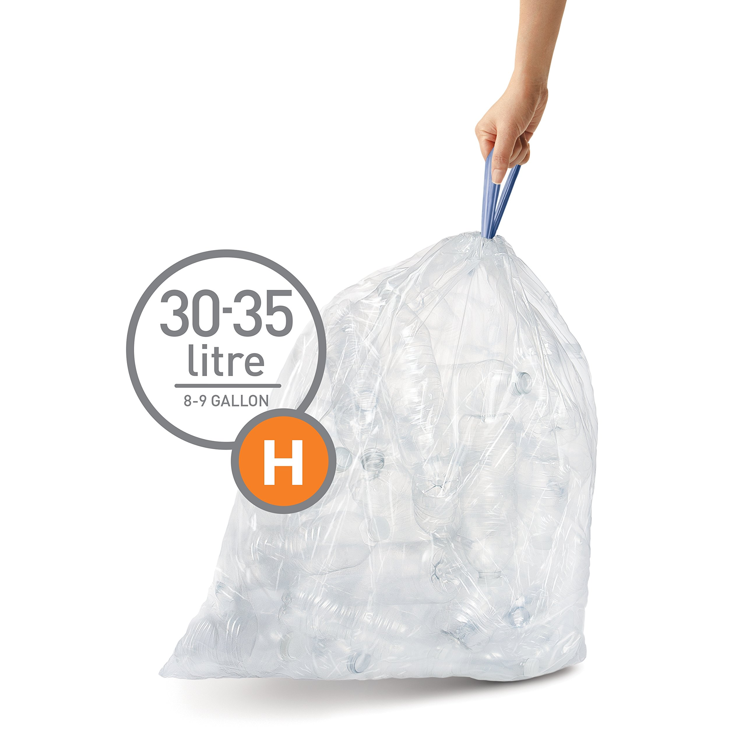 simplehuman Code H Custom Fit Recycling Liners, Drawstring Trash Bags, 30-35 Liter/8-9 Gallon, 12 Refill Packs (240 Count), Clear