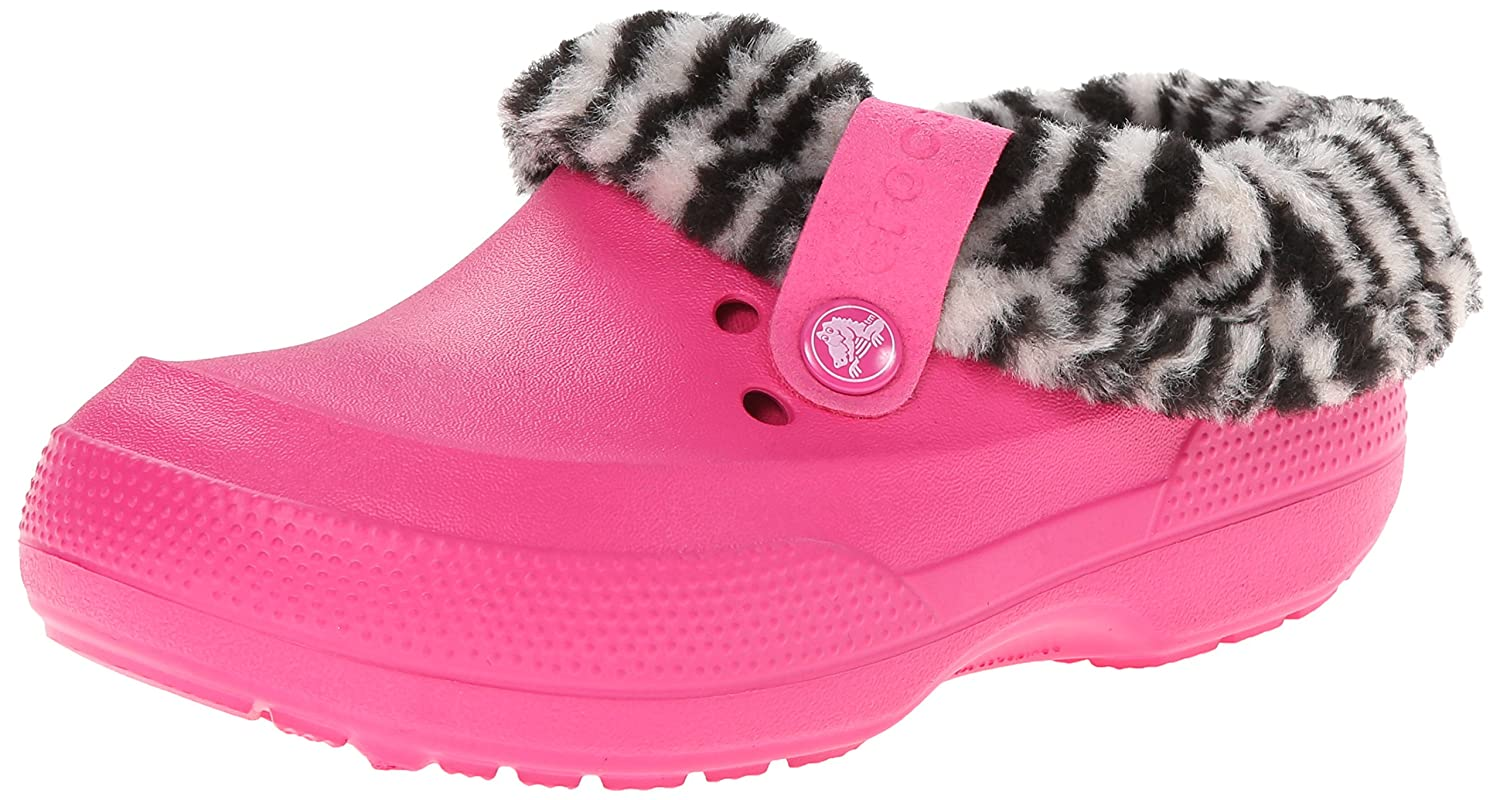 Crocs Kids' Blitzen II Animal Print Lined Clog Candy Pink/Black 6 M US Toddler