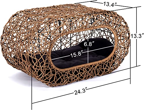 Fun Stackable Wicker Cat Hideaway House – Interactive Play Rattan Cat House for Indoor Cats Kitty, Pet Friendly Top Side House Entry, Cat Bed Enclosed